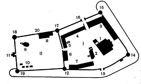 План Ипатьевского монастыря.  По книге В. Иванова.